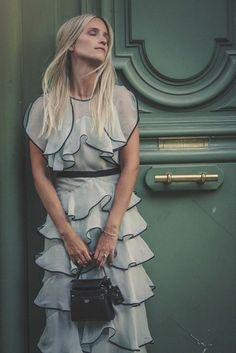 Dress: the fashion guitar blogger chiffon ruffle ruffle grey romantic summer romantic bridesmaid