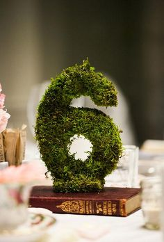 A moss table number | Brides.com