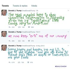 Trump's tweets with the scrawling lettering of an 8-year-old.