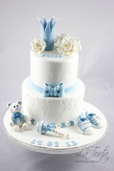 Torta Baby Shower, Baby Shower Cakes For Boys, Baby Boy Cakes, Pop Baby Showers, Baby Shower Fall, Baby Shower Parties, Bolo Fack, Christening Cake Boy, Prince Cake