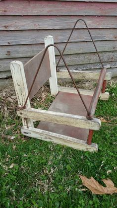 Very Vintage Childs Swing Wood and Wire