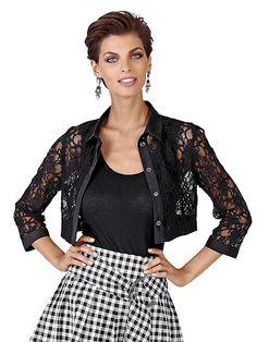 Die modisch kurze Spitzenjacke von ALBA MODA mit Hemdblusenkragen ist in Kombination mit Rock oder Hose gleichermaßen perfekt für den eleganten Sommerauftritt