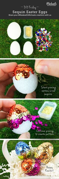 Easy DIY Sequin Foam Easter egg craft idea for kids. The best easy DIY dollar store Easter crafts ideas for the home and table. Elegant Easter decorations for a party or dinner. Making Easter Eggs, Easter Egg Crafts, Easter Projects, Easter Treats, Easter Decor, Easter Dyi, Easter Crafts For Adults, Easter Centerpiece, Easter Stuff