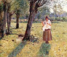 Girl Sewing Theodore Robinson - 1891
