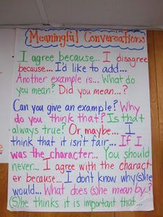Conversation/comment starters poster. My students have a very difficult time talking to each other appropriately.