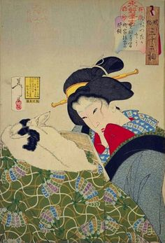 1888 - Yoshitoshi - Warm: Habits of an urban widow of the Kansei era - 32 Aspects of a woman