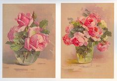 Three Catherine Klein Cabbage Roses and Vase s Print s