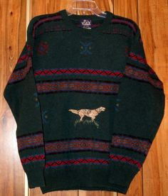 Vintage Men's Woolrich 100% Crewneck Wool Dog Pointer Hunting Sweater Size Small Now $12.87