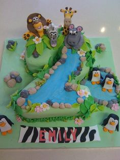 Number 2 animal, Madagascar theme cake.