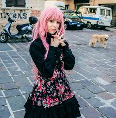 Lolita outfit.  Char: Nadeko Shiina