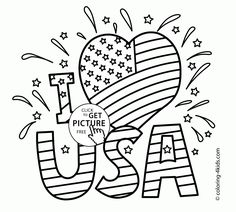 USA I Love - Independence Day coloring page for kids, coloring pages printables free - Wuppsy.com