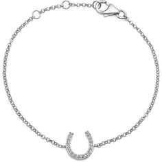 Crystal Sterling Silver Horseshoe Adjustable Bracelet ($40) ❤ liked on Polyvore featuring jewelry, bracelets, sterling silver jewellery, crystal bangles, sterling silver jewelry, sterling silver crystal jewelry and crystal jewellery