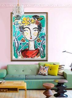 Frida. www.thelmastudio.com Abstract Face Art, Frida Art, Art Diy, Living Room Art, Oeuvre D'art, Painting Inspiration, Art Lessons, Painting & Drawing, Design Art