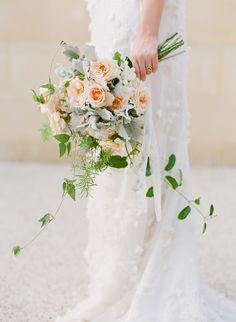 Flowers: Flowertalk by Jappalin Manning :Peach roses and dusty miller via polka dot bride