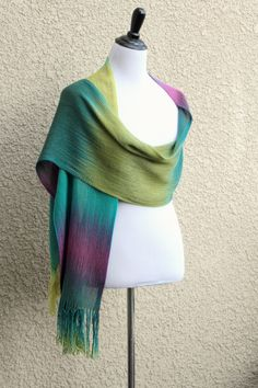 "Hand woven long scarf, pashmina with gradually changing colors from moss green to turquoise, yellow and fuchsia.Measures:L: 78"" with 6"" fringe on both endsW: 11""Care instru... #kgthreads"
