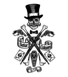 Señor Calavera / Oscar Postigo Voodoo Party, New Orleans Tattoo, Voodoo Tattoo, Grafic Art, Thigh Tat, Negative Space Logos, Death Art, Harley Davidson Logo, Desenho Tattoo