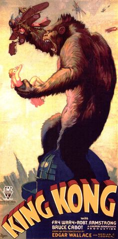 1933: King Kong  There are so many great posters of Kong on top of a building snapping a plane. It's one of the most iconic moments in film history, and this specific poster shows the magnitude of the beast that was killed by Beauty.
