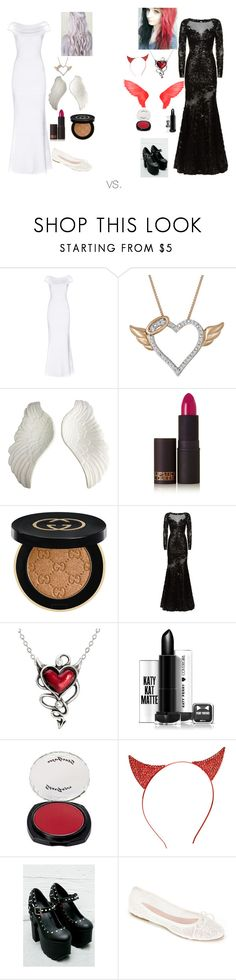 """""""Angle vs. Devil"""" by wally-pop ❤ liked on Polyvore featuring Hervé Léger, Dot & Bo, Lipstick Queen, Gucci, Jovani and Summit by White Mountain"""