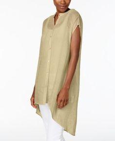 d89f48b6bf89d Eileen Fisher Petite Linen-Blend High-Low Tunic Women - Tops - Macy s