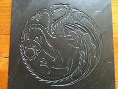 HandCarved Slate  Targaryen Dragon Wall by HannahSmithStone, £95.00
