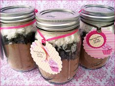 """""""prize"""" - use 1/3 of a box of cake mix in pint size mason jars - each will make about 8 cupcakes"""