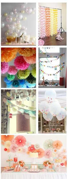 Ideas for home-made party decorations - balloons , backdrops, garlands