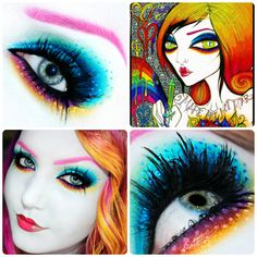 This pin takes you to a great website for wild or wearable makeup inspiration. LOTS of different eyeshadow looks in ONE place! Kiss Makeup, Makeup Art, Beauty Makeup, Hair Makeup, Beautiful Eye Makeup, Pretty Makeup, Makeup Looks, Makeup Tattoos, Fantasy Makeup