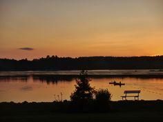 Kayakers at dusk