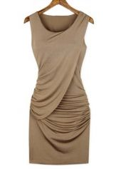 Pretty Summer Essential Round Neck Sheath Dress Khaki
