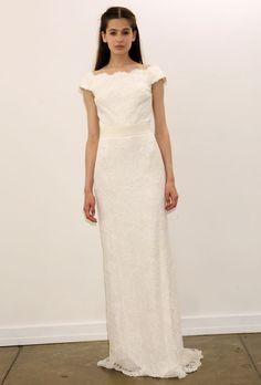 Brides: Tadashi Shoji - Fall 2012. Lace sheath wedding dress with a scalloped bateau neckline and cap sleeves, Tadashi Shoji