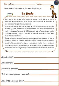 Reading comprehension we know animals - Educational Images - Learn Spanish Spanish Classroom Activities, Kids Math Worksheets, Preschool Education, Education College, Spanish Worksheets, Classroom Humor, Classroom Language, Spanish Language Learning, Teaching Spanish