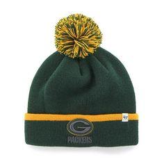 f48bc3a3547 Green Bay Packers 47 Brand Green Gold Baraka Knit Cuffed Poofball Beanie  Hat Cap