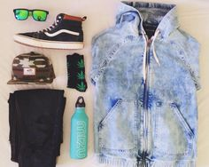 My spring outfit  vans huf mizu hipsters river island acid was denim jacket