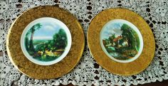 2 Vintage La Petite China Plates, 22K Gold Collector's Plate, Shabby Chic Decor,  22K Gold, Valley Farm, Turner Crossings, Amsterdam Holland by BeautyMeetsTheEye on Etsy