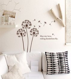 Dandelion Fly Wall Decal Dandelion Fly Sticker by HomeFreeStyle