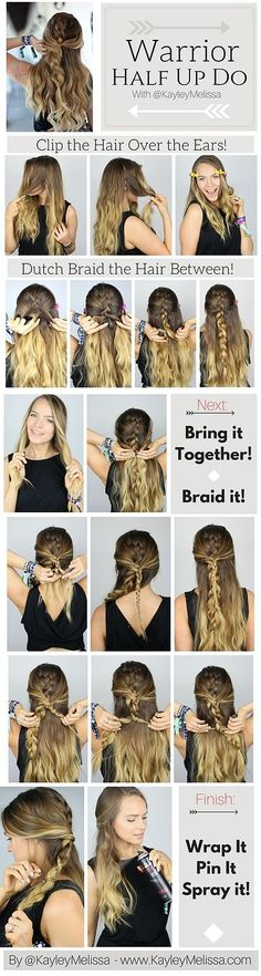 Warrior Braid Hairstyle Tutorial This is so bohemian and perfect for summer and … - Langhaarfrisuren Braided Hairstyles Tutorials, Diy Hairstyles, Pretty Hairstyles, Easy Hairstyle, Hair Tutorials, Summer Hairstyles, Halloween Hairstyle, Classy Hairstyles, Hairstyles Pictures