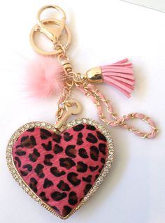 Rhinestone Bling Key Chain Fob Phone Purse Charm Tassel Heart Key New 2f5efe794b