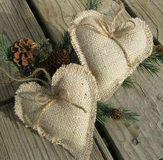 Rustic burlap heart ornaments set of 2 by SplendidEvents on Etsy Burlap Projects, Burlap Crafts, Christmas Projects, Holiday Crafts, Holiday Fun, Burlap Christmas, Primitive Christmas, Christmas Ornaments, Burlap Ornaments