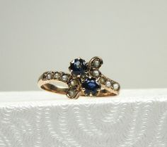 Victorian Blue Sapphire and Seed Pearl Ring; Victorian Sapphire Ring; Birthstone Ring; September Birthstone Ring; Sapphire and Pearl Ring by DorothyGallunJewelry on Etsy
