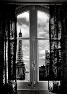 Eiffel Tower view from Parisian Apartment window