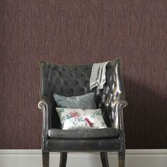 Grasscloth Burgundy and Copper Wallpaper, , large Brown Paint, Grey Paint, Bordeaux, Copper Wallpaper, Hearth And Home, Kitchen Paint, Wingback Chair, Dream Bedroom, Interior Paint