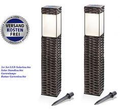 2 Stück LED Solarleuchte Solar Standleuchte Gartenlampe Rattan Gartenleuchte