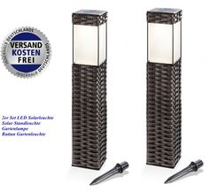 2er Set LED Solarleuchte Solar Standleuchte Gartenlampe Rattan Gartenleuchte