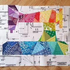 Rainbow Sewing Machine in progress. Pattern by @quietplay