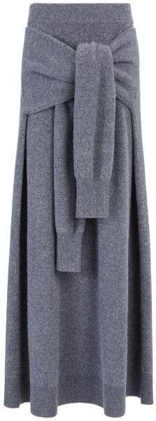 Joseph   Gray Soft Wool Knot Skirt   Lyst