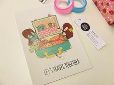 Let's travel together - Postcard
