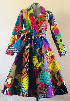 African Wax Print Patchwork Midi Length Coat Dress Cotton With Pockets and Belt Lined African Attire, African Fashion Dresses, African Wear, Coat Dress, Dress Skirt, How To Wear, Cotton, Drama, Outfits