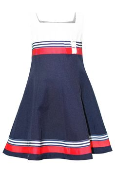 c1709f41ee9 Bonnie Jean Girls Double Bow Nautical Resort Party Dress - Stripe Ribb