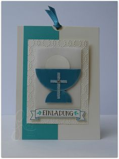 First Communion Cards, First Holy Communion, Origami Invitations, Confirmation Cards, Hand Art, Stampin Up Cards, Invitation Design, Christening, Projects To Try