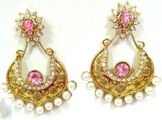 Special Rakhi Gift For Sister Bollywood Pink Stone gold Plated Designer Earring #natural_gems15